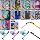 For Samsung Galaxy S6 Pattern Printed Design Hard Plastic Cover Case+Film+Stylus
