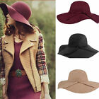 New Womens Vintage Lady Wool Felt Floppy Wide Brim Fedora Bowler Cloche Hats Cap