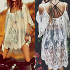 2017 Plus Size Off Shoulder Beach Cover Up Mini Dress Top Blouse Shirt Swimwear