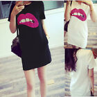 Casual New Womens Crew Neck Short Sleeve Sequin Bling Lip Top Blouse Mini Dress
