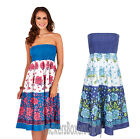 Ladies Floral Strapless Cotton Summer Beach Sun Dress/Maxi Skirt Size 8 - 22 NEW