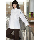 Women's Chef Coats, White, Back Vent, Long Sleeves, Plastic Buttons-IRR-476
