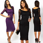 Women Sexy Floral Lace Evening Party  Cocktail Prom Mid-Calf Tube Bodycon Dress