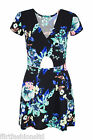 Ladies Floral Print Front Cut Out Skater Mini Dress Short Sleeves Chic Casual