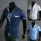 Luxury Mens Casual Short sleeve Button Shirts Tops Slim Fit Dress Shirt Blouse