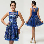 SUMMER BLUE Sequins Homecoming Sleeveless Bridesmaid Evening Prom Short Dresses