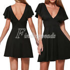 Lady Women New Black Short Sleeve Hollow Out Ruffle Party Formal Club Mini Dress