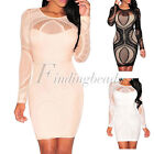 New Lace Nude Illusion Long Sleeves Cocktail Party Above Knee Mini Bodycon Dress