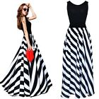 Nice Women's Summer Boho Striped Long Maxi Evening Cocktail Lady Party Dress