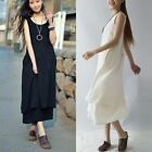 Vintage Women Solid Sleeveless Cotton Linen Casual Loose Sundress Midi Dress SML