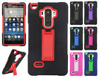 For LG G Stylo IMPACT HYBRID KICKSTAND Hard Rubber Case Cover + Screen Guard