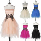 Strapless Tulle Layers Short Prom Evening Party Cocktail Dress Formal Ball Gown
