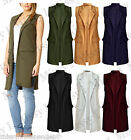New Womens Ladies Crepe Sleeveless Waistcoat Long Blazer Cardigan Jacket Top
