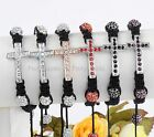 1x Crystal Pave Disco Ball Cross Hip Hop Woven Knitted Bracelet Fit Jewelry Gift