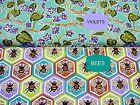 BEES KNEES FABRIC~VIOLETS & BEES~U-PICK~FREE SPIRIT~BY 1/2 YD~TEAL~COTTON~OOP