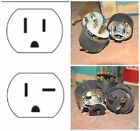 3 LOT NEW 15A or 20A Grounding Rubber Caps w/ Cord Clamps EAGLE Electrical Plugs