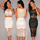 Summer Womens Sexy White Sheer Lace Mesh Floral 2 Two Piece Party Bodycon Dress