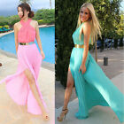 Summer Sexy Women Beach Sleeveless Long Dress Halterneck Clubwear Chiffon Dress