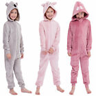 Girls Kids Childrens Fleece Animal Hood Ears all in one Onesie sleepsuit ln112