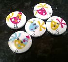 10/20/50 Mixed Wooden  Buttons Funky Chicken Lovers 25mm diameter 2 holes
