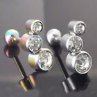 "16g 1/4"" TRIPLE Clear CZ Helix Rainbow Or Stainless Piercing Stud Bar Ear NEW"