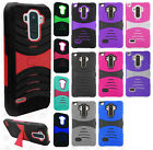 For LG G Stylo Hard Gel Rubber KICKSTAND Case Protector Cover +Screen Protector