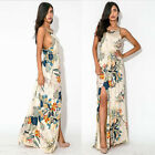 Women Fashion Summer Floral Boho Long Maxi Dress Evening Party High Split CA. WB