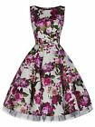 CLASSIC 50's VINTAGE IVORY FLORAL BOW COCKTAIL PARTY SWING TEA DRESS NEW 8 - 26