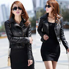 Women's Black Slim Fit Vintage Style Polyurethane Leather Coat Jackets XXS~L