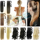 Real Long Pony tail Wrap Around Clip In on Ponytail Hair Extensions black blonde