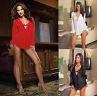 Women's Low V Chiffon Shirt Sexy Lingerie Sleepwear Bikini Cover Up Blouses
