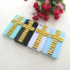 Pyramid Studs Cross Studded Rivet Bling Hard Back Case Cover For iPhone 4 4G 4S