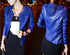 Women Fashion Slim Lace PU Leather Coat Short Jacket Outwear Red /Blue