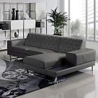 Modern Bonded Leather Sectional Sofa Set-Gray and White,chaise left/right option