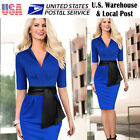 Women Elegant Tunic Belted V Neck Ruched Work Office Pencil Dress Fast Shipping
