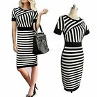 Womens Ladies Black White Striped Cocktail Bodycon Pencil Dress Skirt Slim Hot