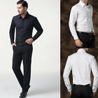 New fashion Mens Long Sleeve Casual Formal Slim Fit Stylish Patched Dress Shirts