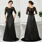 Lace Satin Half Sleeve Ball Gown Evening Prom Party Cocktail Dress Size UK 6~20