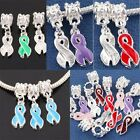 Ribbons Disease Cancer Awareness Charms Beads Fit Bracelet Red/Pink/Blue/Green