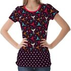 Purple Phoenix Birds Figure Womens Ladies Short Sleeve Top Shirt Blouse
