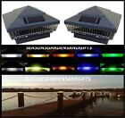 Solar Post Cap Deck Fence LED Lights 5x5 or 6x6 Painted Hammered Grey 2 Pack