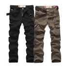 New Men's Casual Slim Fit Long Straight Fashion Pocket Cargo Jeans Pants Trouser