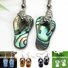 Pair Natural Gemstone Abalone Shell Slipper Dangle Hook Earrings Eardrops Gift