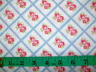 LULU ROSES - BLUE CROSSED ROSES 100% cotton patchwork fabric