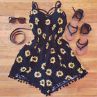 Fine Women Summer Black Floral Jumpsuit Tassel Sleeveless Playsuit Rompers WBCA