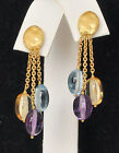 Marco Bicego Earrings 18K Gold Amethyst Blue Topaz Citrine Drop Siviglia New