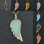 Amethyst Gold Sand Stone Healing Guardian Angel Wings Gold Pendant Fit Necklace