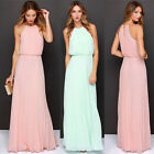 PINK Womens Summer Long Maxi Chiffon Bridesmaid Evening Formal Party Gown Dress