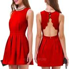 Fashion Womens Sexy Backless Sleeveless Evening Cocktail Party Club Mini Dress