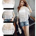 Women's Sexy Off-shoulder Tassel Lace Hollow Crochet Crop Tops Shirts Blouses LG